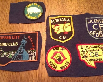 6 70s era Vintage C B Radio Fabric  Patches from Copper City Butte MT