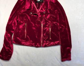 Red crushed velvet jacket