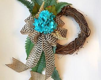 turquoise hydrangea wreath, wreath for spring, wreath for summer, wreath spring, wreath, wreaths, door wreath, front door wreath