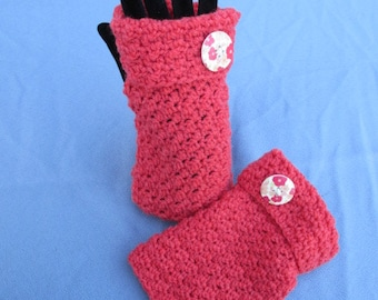 Crochet Wrist Warmer Fingerless Mitts In Flame Red