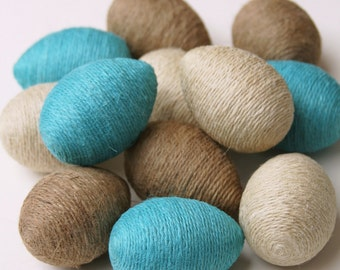 Jute Twine Eggs, One Dozen, Natural, Ivory & Turquoise Twine, Easter Eggs, Spring Decoration, Bowl or Basket Filler, Table Scatter, Country.
