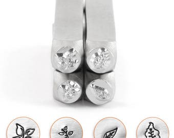 Impress Art Metal Stamps, Nature Series, Leafs, 6mm. Quality Professional Steel Stamps used for Jewelry Making.