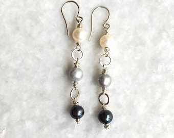 orbit earrings – freshwater pearls, sterling silver