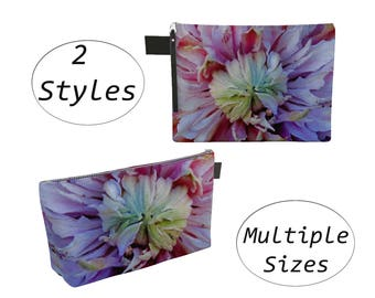 Purple Floral Pouch Carry All, Zippered Clutch, Big Large, For Makeup Cosmetics Toiletry Laptops Tablet, Diapers Travel Carryall, Dahlias