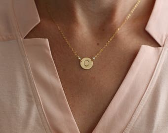 Initial Necklace, Free Shipping, Tiny Pearls, Dainty Necklace, Delicate Necklace, Gold Pendant, Sterling Silver,  Medallion, Gift for Her