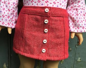 Fits American Girl doll:  red denim mini skirt