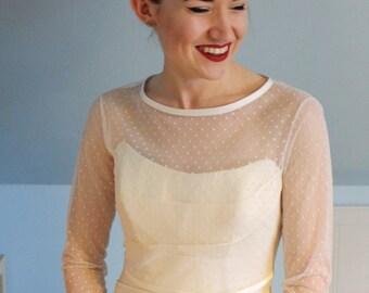Ivory Spot Tulle Dress Topper