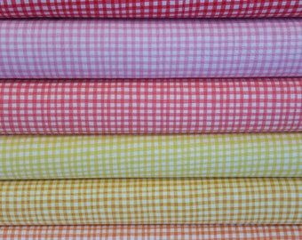 Bright Gingham Play Bundle from Michael Miller Fabrics - 100% Cotton - 6 Fabrics