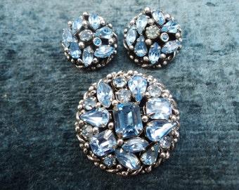 Barclay Signed Blue Rhinestone Brooch Earring Demi Parure
