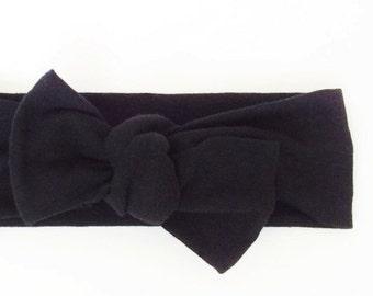 Baby Knot Headband, Newborn Headband / Black