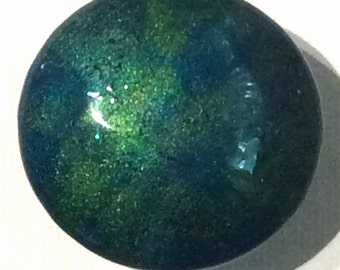 Custom made One of a Kind Furniture and Cabinet Knob-Metallic Teal and Lime