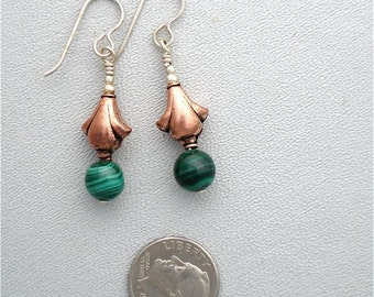 Earrings in Malachite and Copper