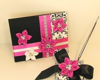 Wedding Guest Book and Pen Set Damask,Black and Hot Pink   -Custom Made/made to order.