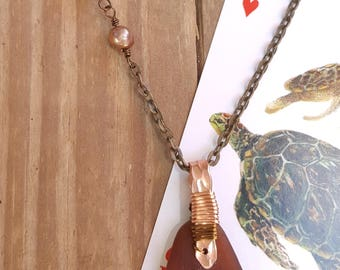 Authentic Santa Barbara Sea Glass, mixed metal, and pearl brown necklace