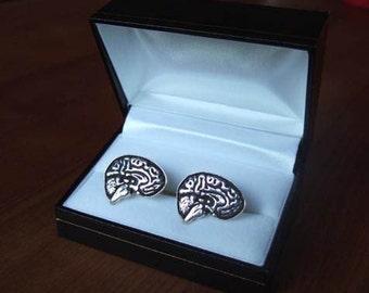 SMART Brain Cufflinks in Solid Sterling Silver