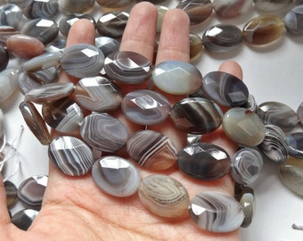 "Botswana Banded Agate Faceted Ovals 13x18 mm One 16"" Strand M68"