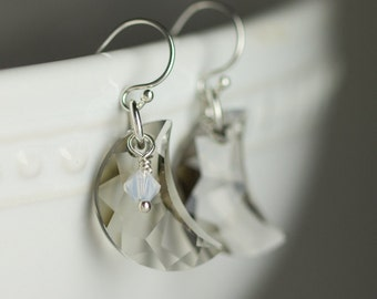 Celestial jewelry - Moon Earrings - Gift for her - Sterling silver Crystal earrings - Gray moons - Dangle earrings - Under 25 - Gift for mom