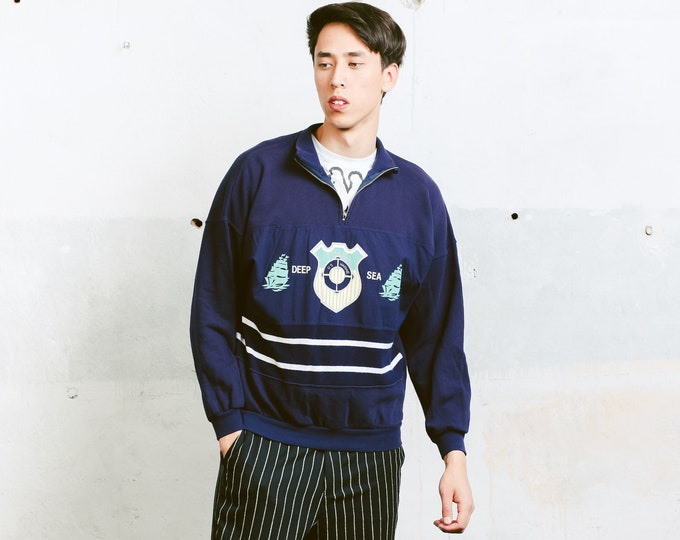 Men's 80s Sweatshirt . Vintage Mens Top Training Jacket Blue 1980s Jacket Half Zip Sweatshirt Tracksuit Top Sportswear . sz Large L
