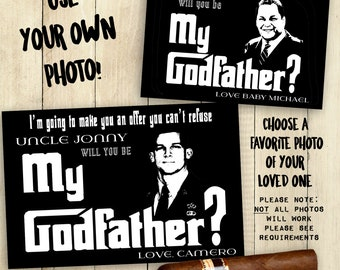 Godfather Card Will You Be My Godfather Card PRINTABLE Godfather Cards Customized Personalized Custom Photo