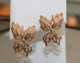 Vintage 14k Rose Gold Butterfly Earrings