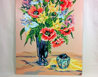 Vintage Paint by Number Picture Flowers 18 x 24