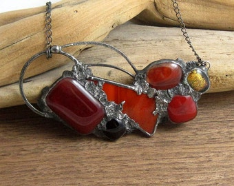 Urban Artifact | Fused Glass | Bib | Chain | Eclectic Jewelry | Red | Bohemian | OOAK | Eccentric | Gift for Women
