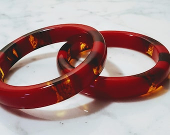 Fiery Red Lucite Bangle Pair