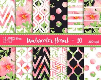 Watercolor floral digital paper - Chevron Polkadots Stripes Moroccan Scrapbook Paper, Digital paper, Floral background, Floral Patterns