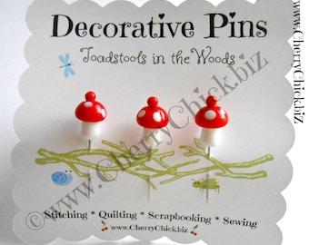 Mushroom Pins - Gift for Quilters - Decorative Pins - Sewing Pins - Toadstool Pins - Garden Pins - Quilting Pins -  Pincushion Pins