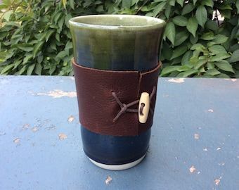 green tumbler - handless mug with leather wrap