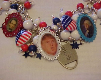 POLITICAL HUMOR~TRUMP for President/Humorous Necklace~Political Satyr~Photo Charms~Presidents~Red~White~Blue Beads~Democrat~Republican