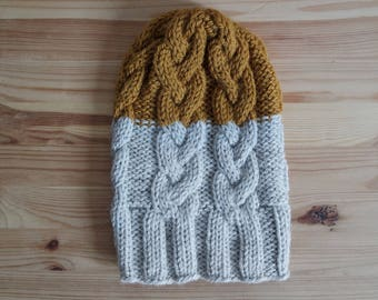 The Braid Beanie in two colours, Cable Knit Hat, Winter hat in Wool, off white and mustard, ready to ship