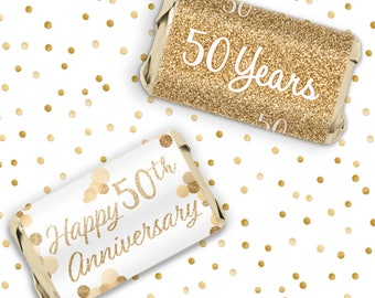 Gold 50th Anniversary Party Favors   Candy Wrapper Stickers For Hershey  Miniatures   Wedding Anniversary Or
