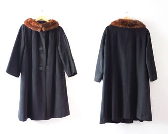 Vintage Black Coat | 1950s Black Wool Coat Mink Trim L | 60s Black Coat