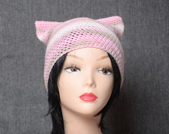 crochet pink cat hat women gift for girlfriend animal hat pink cat beanie hat cute accessories cat ear hat