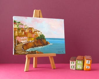 Cinque Terre painting Manarola art Colorful art Italy art Manarola oil painting Italy gift Landscape painting Europe travel gift