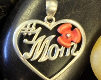 Dainty Sterling Silver Heart Pendant with 1 Mom (st - 444)