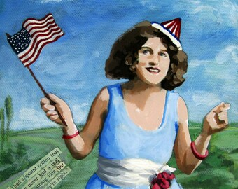 Patriotic Pat - Political humor archival print from original mixed media painting