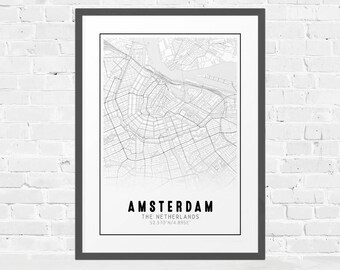 Amsterdam City Map, Black and White Map, Europe City Map,  Amsterdam Street Map, City Map Poster, Travel Decor, Europe Print, Travel Print