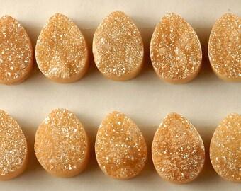 2 Pieces Peach-orange Teardrop Calibrated Druzy Agate Cabochon B13DR7988