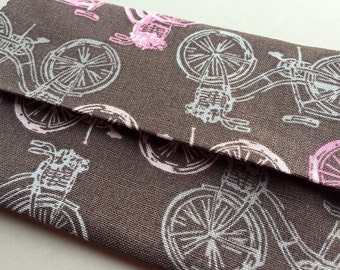 Purse Tissue Holder, Travel Kleenex Holder, Pink and Gray Bicycles