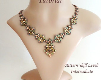 PIPISTRELLO superduo and tila beaded necklace beading tutorial and pattern beadwork jewelry beadweaving tutorial beading pattern instruction