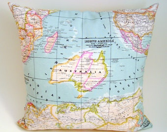 Map pillow cover world map cushion cover world map pillow map fabric pillow cover world map cushion cover as seen in marie claire decorative pillows blue pillow cover decorative map pillow gumiabroncs Gallery