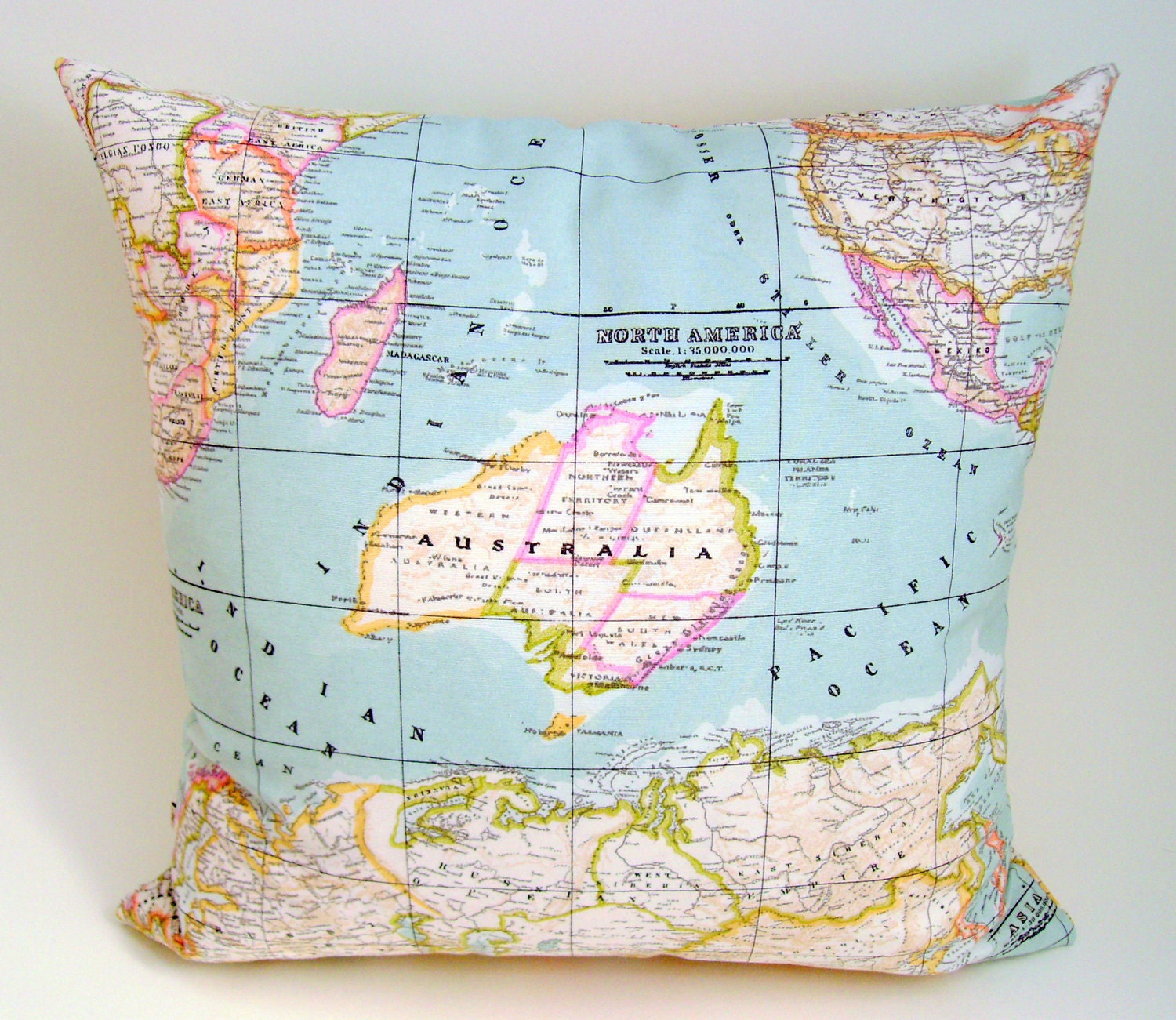 Map fabric pillow cover world map cushion cover as seen in description one 16 square world map fabric sciox Gallery