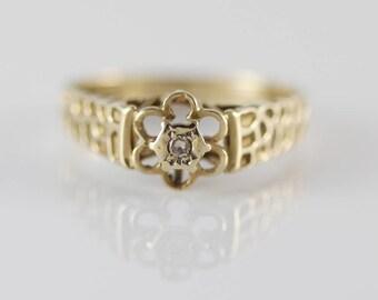 1970s 9ct Gold Diamond Daisy Flower Shape Ladies Ring    Size  UK N 1/2  US 7