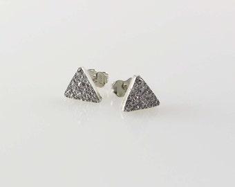 Triangle sterling silver earrings