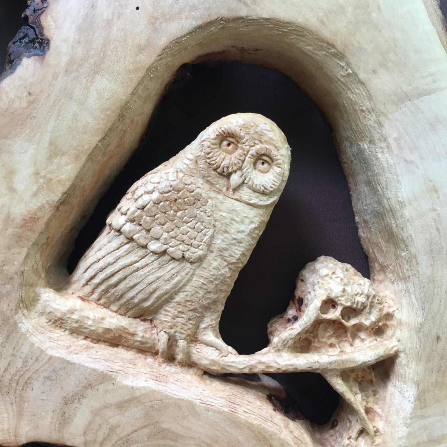 Barn owl relief wood carving inches high amazing wood art