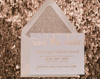 Foil Stamping - Rose Gold Glitter - Save the Date - SAMPLE (ADELE)