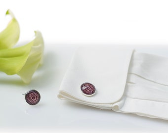 Cufflinks made with Japanese kimono silk, under glass dome, cufflinks chromed metal and silk fabric