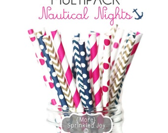 NAUTICAL NIGHTS Pretty Paper Straws, Multipack, Navy, Gold, Hot Pink, Chevron, Dots, Nautical,Vintage, Wedding, 25 Straws, Baby, Shower